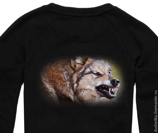 """Кофты и свитера ручной работы. Ярмарка Мастеров - ручная работа. Купить Теплая толстовка, свитшот  с авторским принтом """"Оскал волка"""". Handmade."""