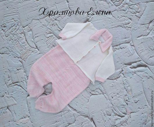 Одежда ручной работы. Ярмарка Мастеров - ручная работа. Купить Комплект для новорожденного. Handmade. Белый, комбинезон для малыша, комплект для девочки