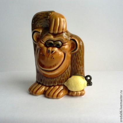 Новый год 2016 ручной работы. Ярмарка Мастеров - ручная работа. Купить обезьяна -символ 2016. Handmade. Коричневый, обезьянка керамика