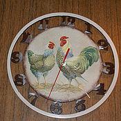 """Для дома и интерьера ручной работы. Ярмарка Мастеров - ручная работа Часы""""Просыпаюсь с петухами"""". Handmade."""