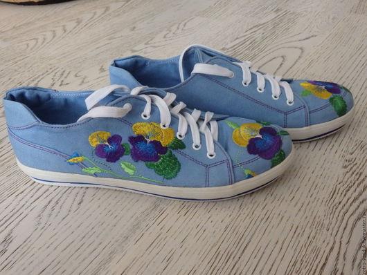 Обувь ручной работы. Ярмарка Мастеров - ручная работа. Купить %Женские кеды с вышивкой ручной работы, размер 41-42. Handmade.