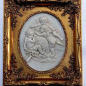 Винтаж ручной работы. Ярмарка Мастеров - ручная работа Барельеф в раме Ангелы. Handmade.