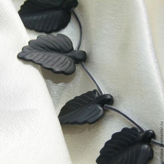 Для украшений ручной работы. Ярмарка Мастеров - ручная работа. Купить ЛИСТЬЯ матовый резной оникс бусины бриолеты. Handmade.
