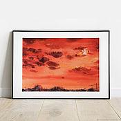 Картины и панно handmade. Livemaster - original item The full moon. Watercolor (red, orange, moon, scarlet). Handmade.