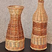 Для дома и интерьера ручной работы. Ярмарка Мастеров - ручная работа Оплетаю бутылку/вазу. Плетёная ваза из ивовой лозы.. Handmade.