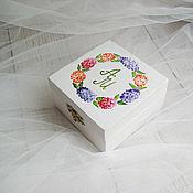 Свадебный салон ручной работы. Ярмарка Мастеров - ручная работа Hydrangea Wed - свадебная шкатулка для обручальных колец. Handmade.