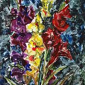 Картины и панно handmade. Livemaster - original item Watercolor painting Gladiolus. Painting with flowers.. Handmade.
