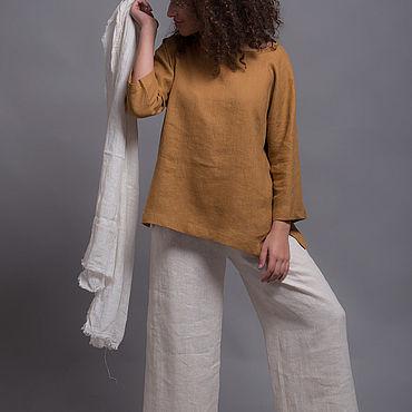 Одежда ручной работы. Ярмарка Мастеров - ручная работа Комплект - Льняные штаны, топ и легкий шарф. Handmade.