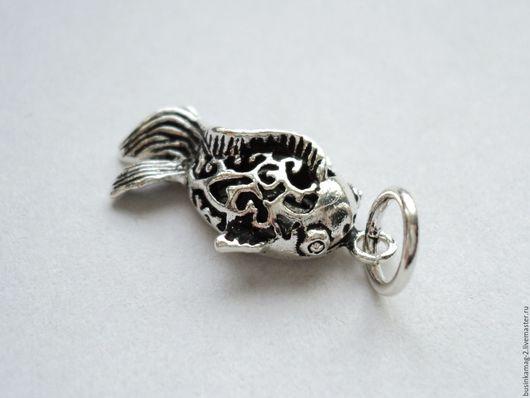 Для украшений ручной работы. Ярмарка Мастеров - ручная работа. Купить Подвеска Рыбка серебро 925 проба, 23/13мм. Handmade.