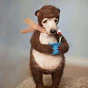 Куклы и игрушки ручной работы. Ярмарка Мастеров - ручная работа Мишка и цветок.... Handmade.