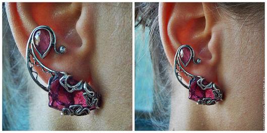 Шикарные  необычные серьги с ярко-розовым, сочным турмалином в серебре,выполненный в технике филигрань `В объятиях лета`  Считается, что этот камень пробуждает в человеке такие качества, как чуткость