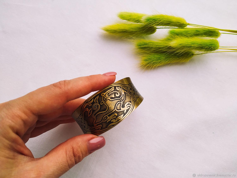Bracelet plate wide 'Fierce beast' xiii BB Brass, Hard bracelet, Syktyvkar,  Фото №1