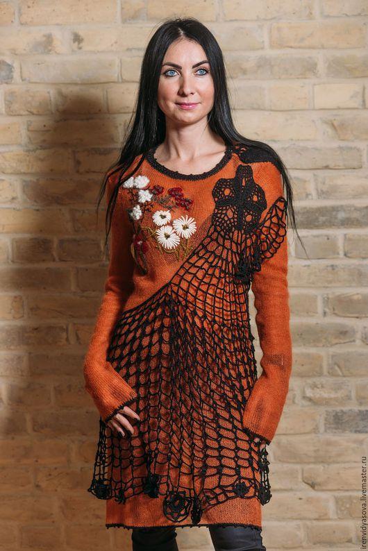 """Платья ручной работы. Ярмарка Мастеров - ручная работа. Купить Платье -туника """"Любит-не любит"""". Handmade. Оранжевый, платье на заказ"""