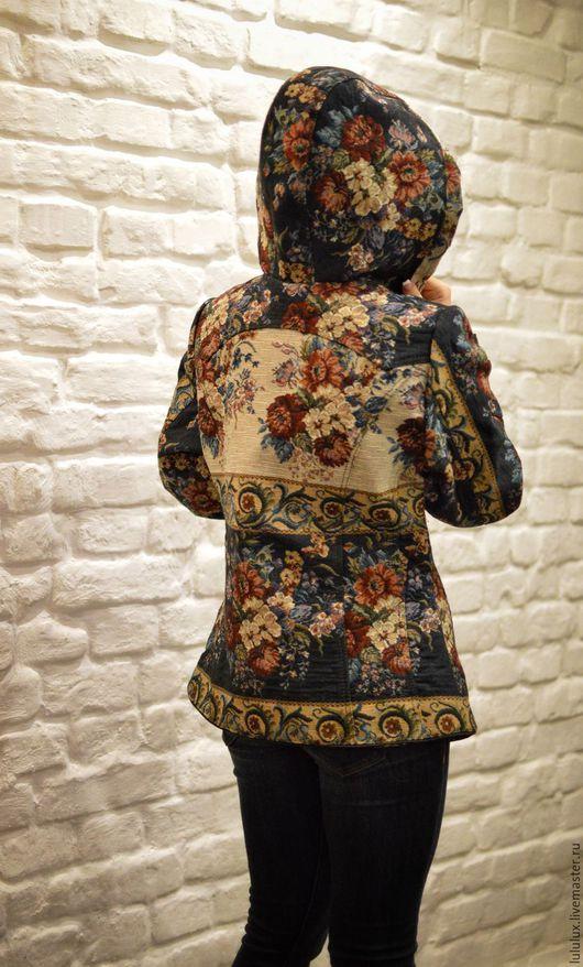 Одежда ручной работы. Авторская куртка из гобеленовой ткани с капюшоном. Ольга Лаврентьева дизайнер по меху. Интернет-магазин Ярмарка Мастеров.