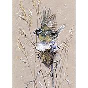 """Картины и панно ручной работы. Ярмарка Мастеров - ручная работа Принт """"Морозные травы"""" Большая синица. Handmade."""