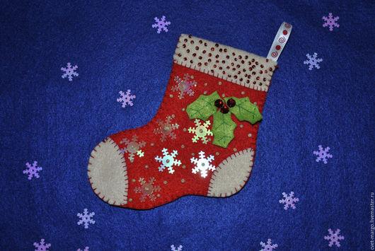 Новый год 2017 ручной работы. Ярмарка Мастеров - ручная работа. Купить Носочки из фетра. Handmade. Комбинированный, фетр, бусины, бисер