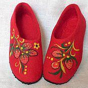 """Обувь ручной работы. Ярмарка Мастеров - ручная работа Валяные тапочки """"Мотивы Хохломы 3"""". Handmade."""