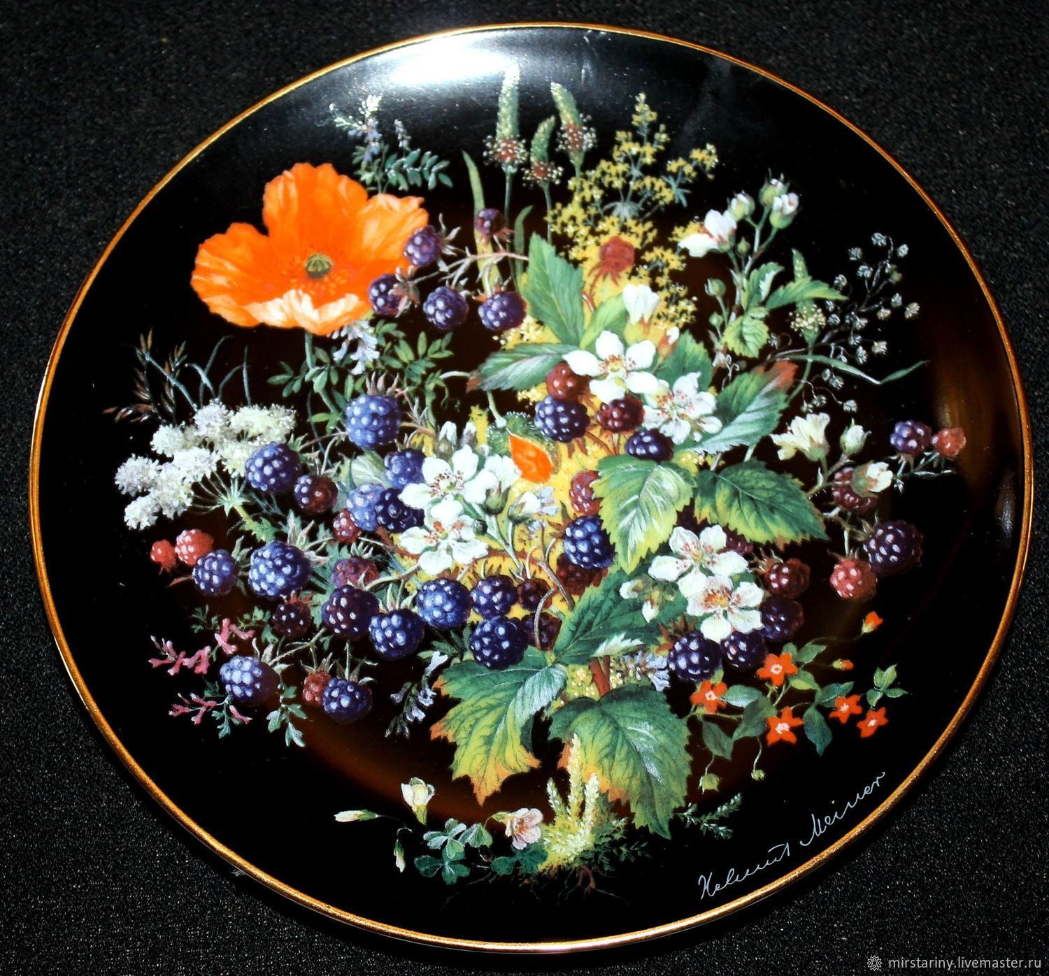 Amazing beauty plates 'Forest berries', Schumann, Herm, Vintage interior, Moscow,  Фото №1