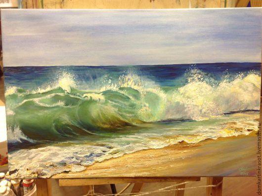 """Пейзаж ручной работы. Ярмарка Мастеров - ручная работа. Купить Картина маслом """"Изумрудная волна"""". Handmade. Комбинированный, морская тема"""