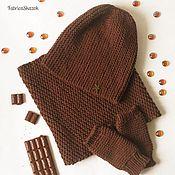 Комплект аксессуаров Шапка-бини Снуд Митенки коричневый, цвет шоколада