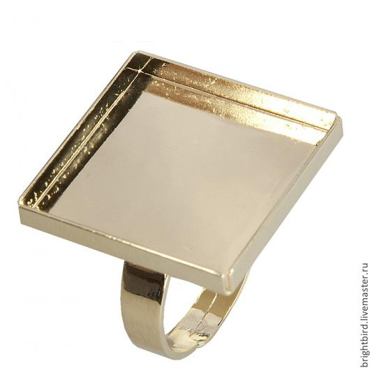 Для украшений ручной работы. Ярмарка Мастеров - ручная работа. Купить Кольцо квадрат позолота 20х20 мм для Сваровски Crystal Rocks. Handmade.