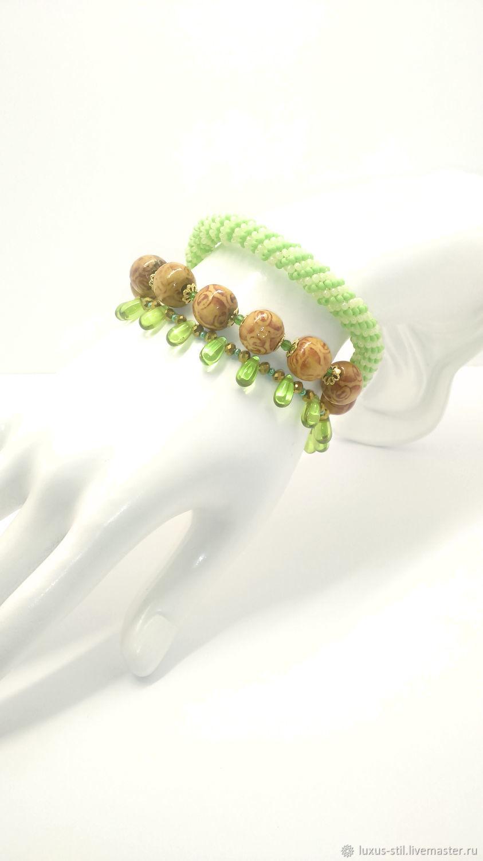 Triple green droplet bracelet, Bead bracelet, Podolsk,  Фото №1
