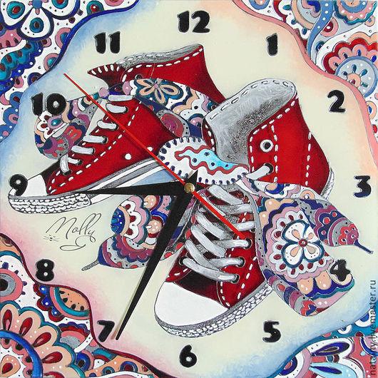 """Часы для дома ручной работы. Ярмарка Мастеров - ручная работа. Купить Часы """"Кеды"""". Handmade. Белый, подарок девушке"""