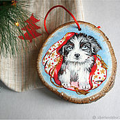 Сувениры и подарки handmade. Livemaster - original item Puppy. Christmas decoration. The painting on the saw cut.. Handmade.