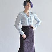 Одежда ручной работы. Ярмарка Мастеров - ручная работа Юбка миди фиолетовая на осень. Handmade.