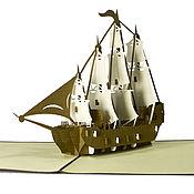Сувениры и подарки handmade. Livemaster - original item Sailboat - 3D handmade greeting card. Handmade.