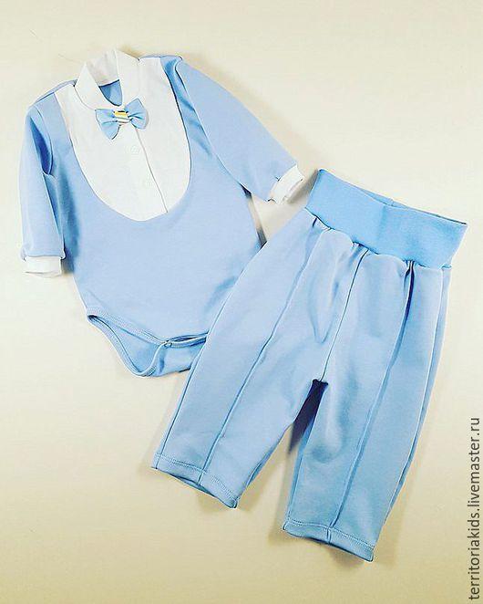 """Одежда ручной работы. Ярмарка Мастеров - ручная работа. Купить Комплект для мальчика """"Джентельмен"""", 2 предмета. Handmade. Голубой, костюм"""