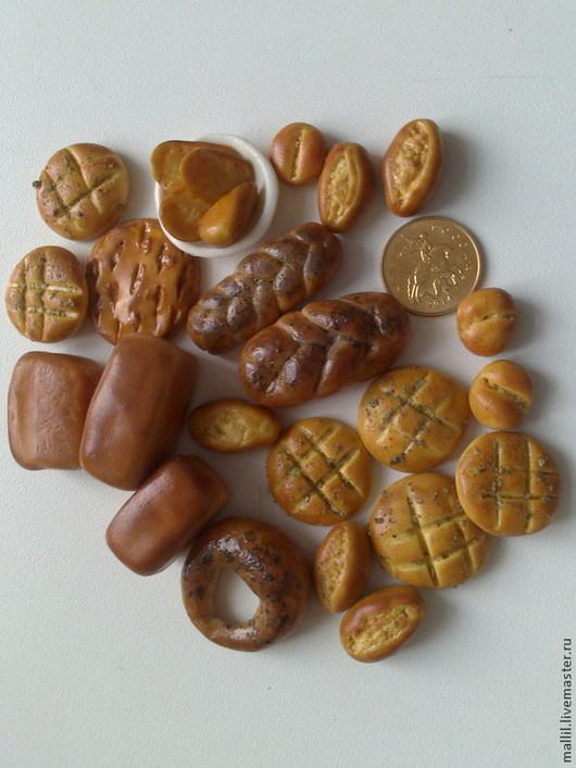 Еда ручной работы. Ярмарка Мастеров - ручная работа. Купить Хлеб и хлебные изделия в миниатюре. Handmade. Бежевый, миниатюрная еда