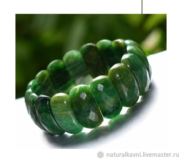 Bracelet African jade green with cut, Bead bracelet, Moscow,  Фото №1