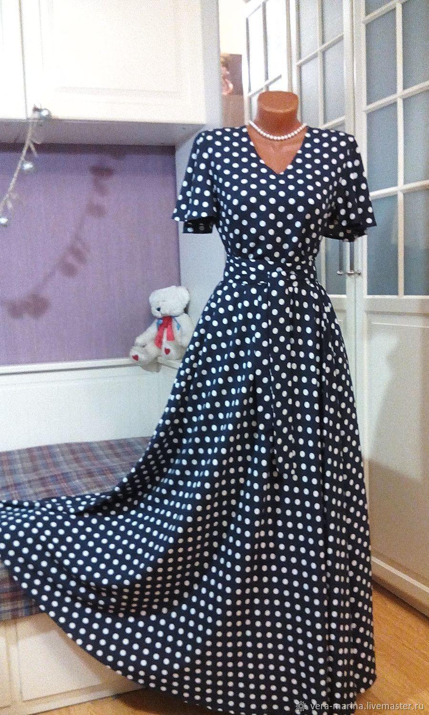 Штапельное платье макси Горох на темно-синем 3, Платья, Москва,  Фото №1