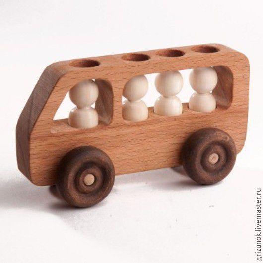 Техника ручной работы. Ярмарка Мастеров - ручная работа. Купить Деревянная машинка Автобус с пассажирами. Handmade. Коричневый, автобус