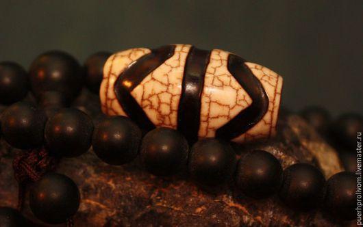 """Для украшений ручной работы. Ярмарка Мастеров - ручная работа. Купить Тибетская бусина Дзи (Зи)""""Зуб Тигра""""( резная). Handmade."""