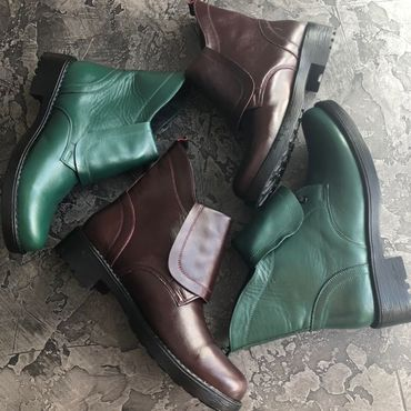 Footwear handmade. Livemaster - original item Boots moccasin leather with uneven Green and brown. Handmade.