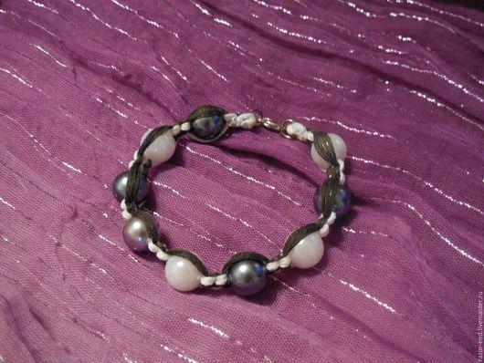"""Браслеты ручной работы. Ярмарка Мастеров - ручная работа. Купить Браслет """"Gray pearl"""". Handmade. Серый, браслет макраме, бусины"""