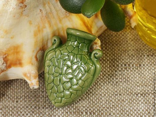 Для украшений ручной работы. Ярмарка Мастеров - ручная работа. Купить Аромакулон керамический №9 (зеленый). Handmade. Аромакулон, ароматерапия