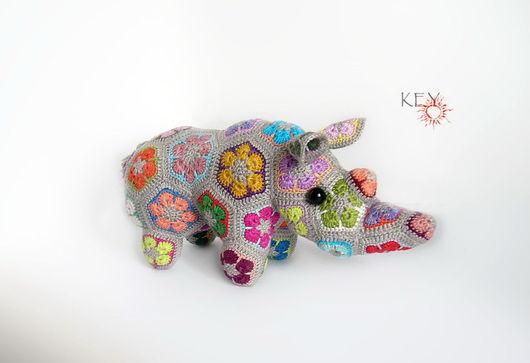 Игрушки животные, ручной работы. Ярмарка Мастеров - ручная работа. Купить Радужный носорог. Handmade. Разноцветный, мотивы, Вязание крючком