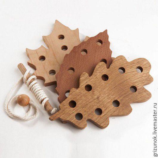 Развивающие игрушки ручной работы. Ярмарка Мастеров - ручная работа. Купить Шнуровка Листопад. Handmade. Комбинированный, деревянные игрушки