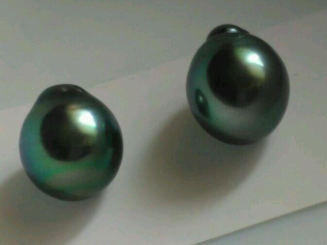 Пара жемчужин Таити, 10,7 мм, Бусины, Краснодар,  Фото №1