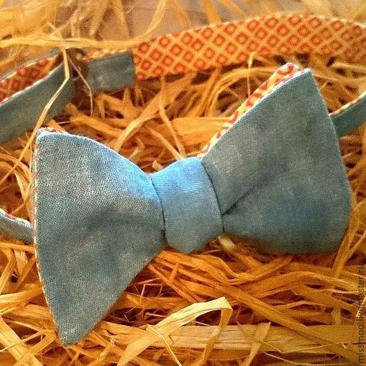 Галстуки, бабочки ручной работы. Ярмарка Мастеров - ручная работа. Купить Двусторонняя галстук-бабочка СтереоЛето. Самовяз. Handmade. Голубой