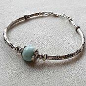 Украшения handmade. Livemaster - original item Silver bracelet with larimar. Handmade.