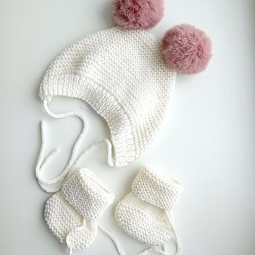 Clothing handmade. Livemaster - original item Knitted cap and booties set 0-3 months.. Handmade.