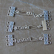 Крупная застежка серебряная на 3 нити с удлинительной цепочкой