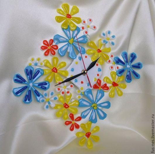 Часы для дома ручной работы. Ярмарка Мастеров - ручная работа. Купить Фантазия Фьюзинг. Handmade. Часы, часы настенные, стекло