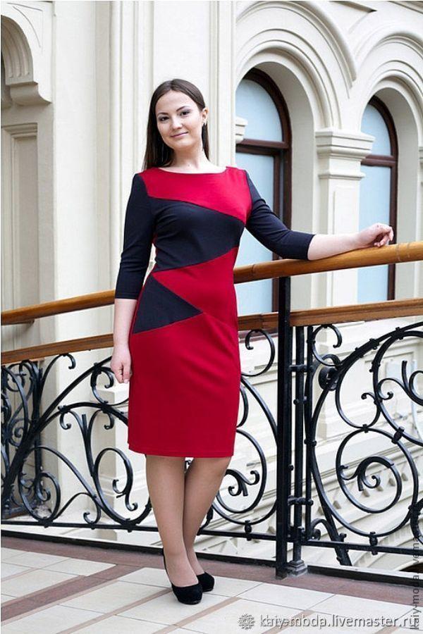 Платье из джерси а карманами - красный, серый, Платья, Москва, Фото №1