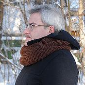 Аксессуары ручной работы. Ярмарка Мастеров - ручная работа Мужской шарф-снуд коричневый (полушерсть). Handmade.