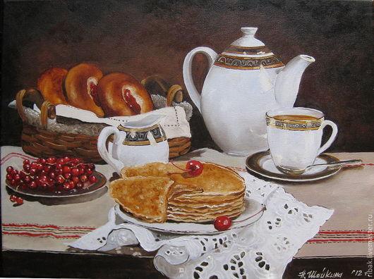Натюрморт ручной работы. Ярмарка Мастеров - ручная работа. Купить Картина маслом. Смородиновый чай.. Handmade. Картина маслом, блины